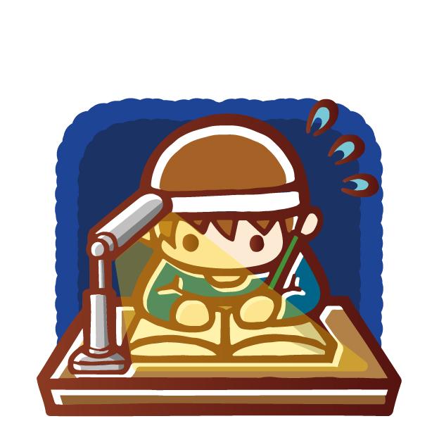 徹夜で勉強する男の子
